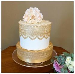 Gold lace Royal Iced Peony Cake