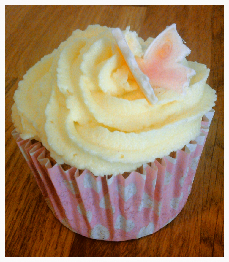 Vanilla and blush butterfly cupcake