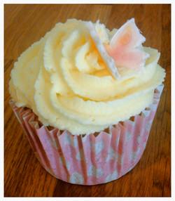 Vanilla and blush butterfly cupcake
