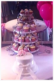 Cupcake tower and blush rose cake