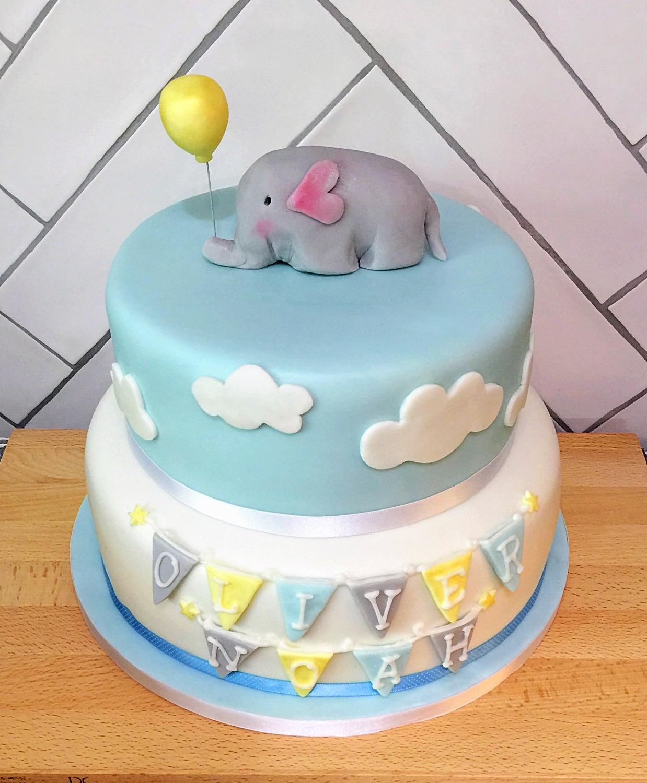 Elephant and Bunting Cake