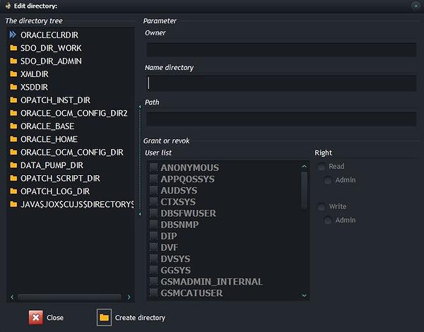 CerebroSQL - Oracle directory editor