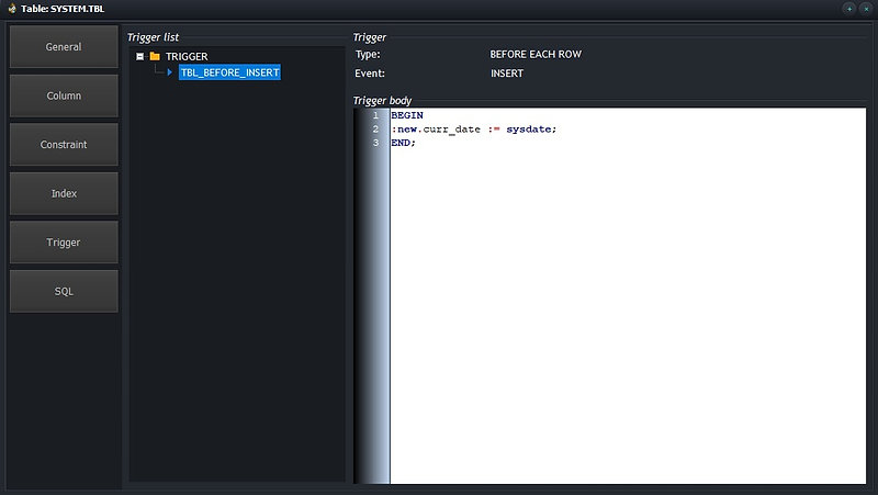 CerebroSQL - Oacle table view - trigger