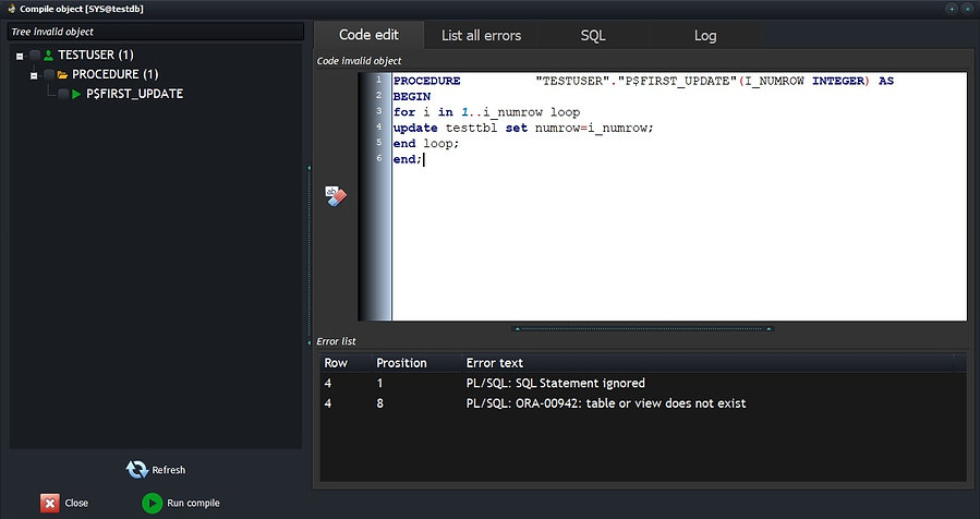 oracle compile invalid object edit code
