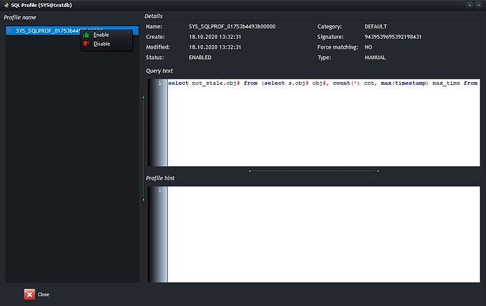 CcerebroSQL - Oracle SQL Profile list