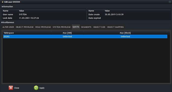 Oracle edit user - quota