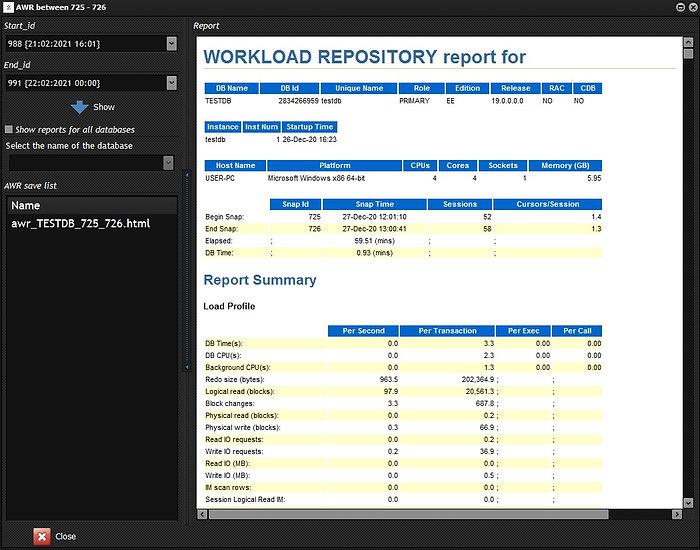 CerebroSQL - Oracle AWR-report generator