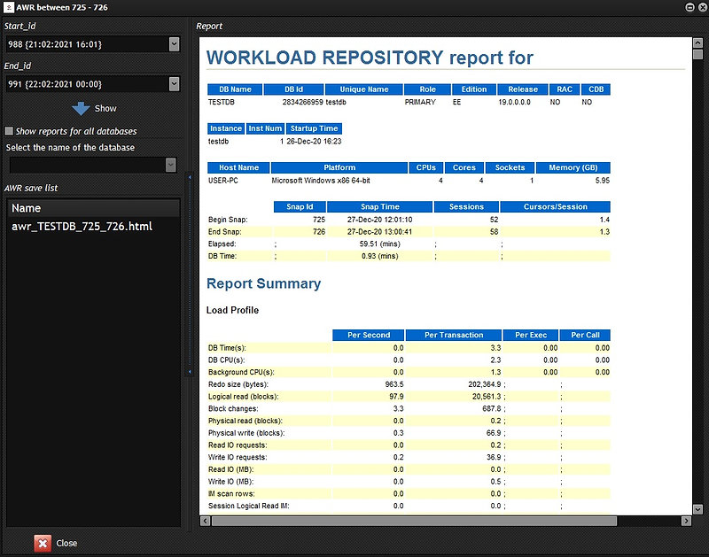 CerebroSQL - Oracle AWR-report generator