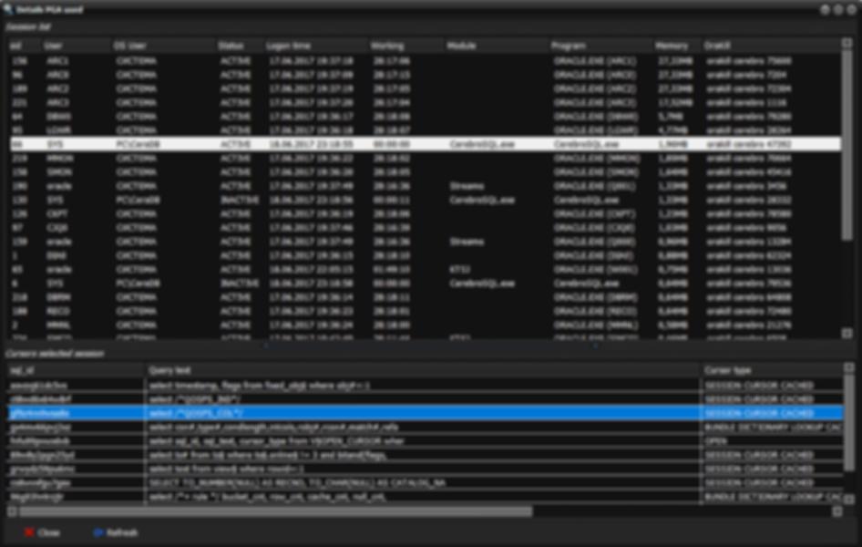 Oracle PGA: show cursor session