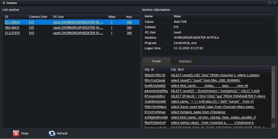Oracle open cursor - show