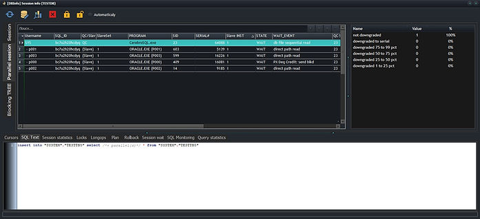 Oracle session manager - parallel sessions