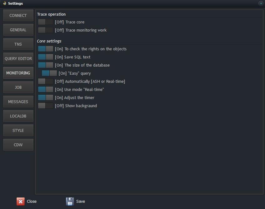 CerebroSQL settings - monitoring