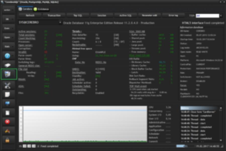 """General window """"CerebroSQL"""" - button card server"""