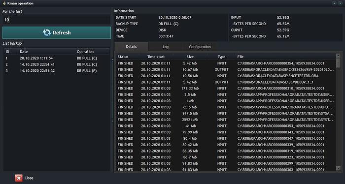 Oracle RMAN backup details