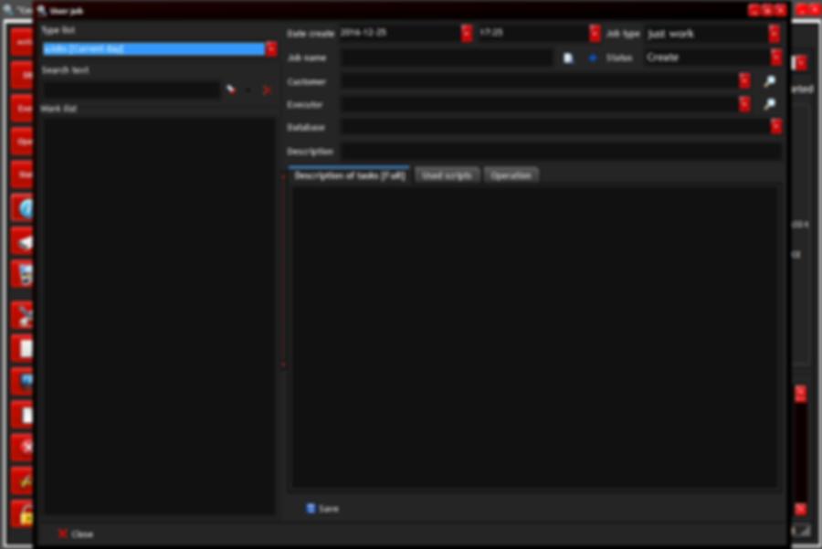 User job: show window
