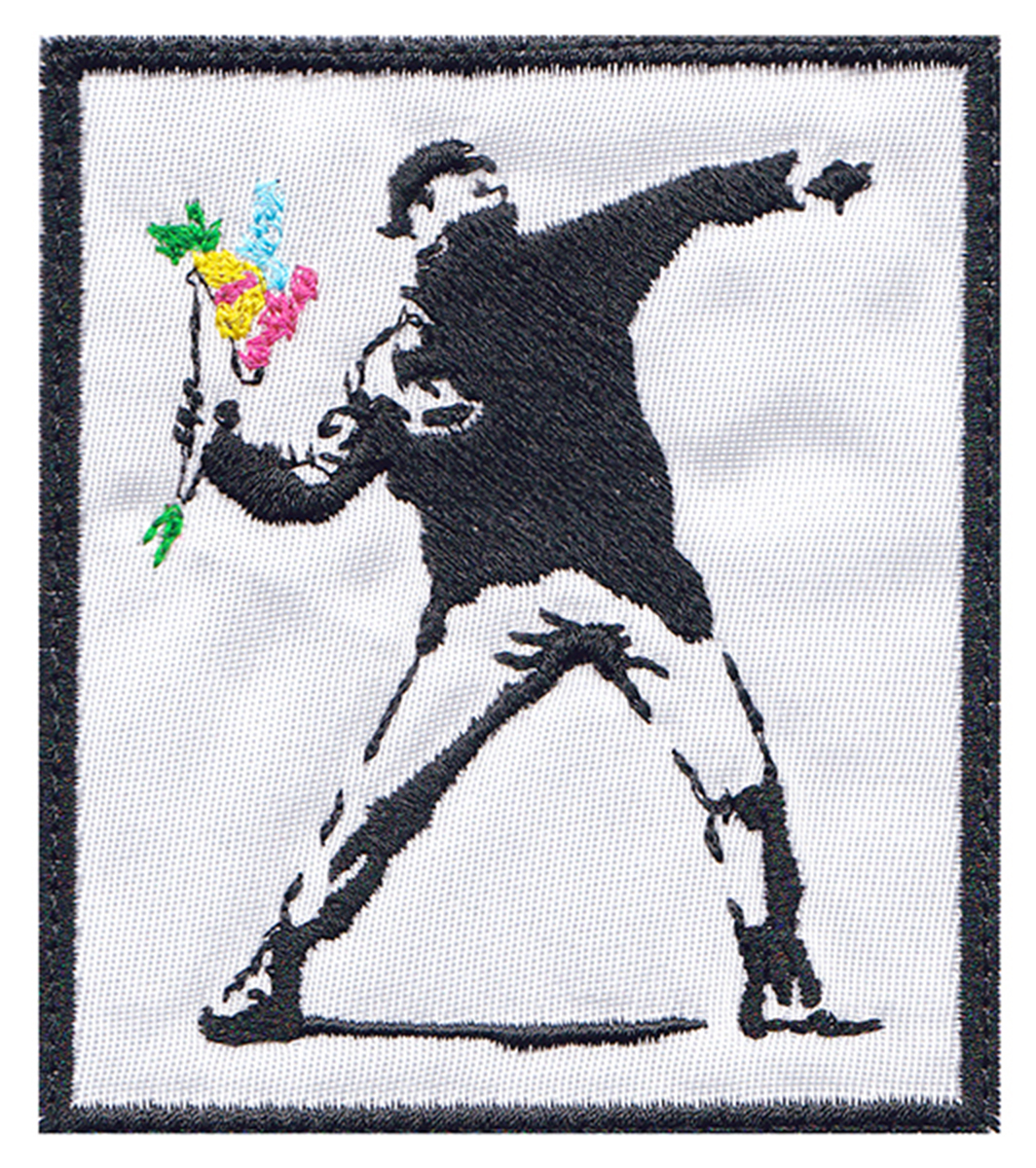 custom banksy flower thrower patch
