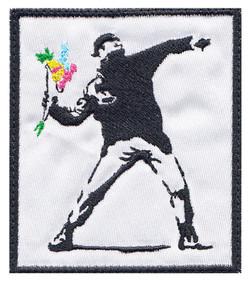 custom banksy flower thrower patch