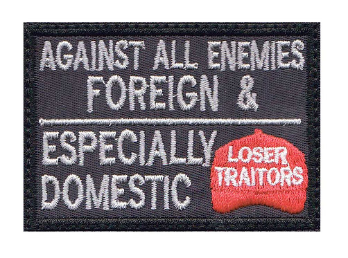 Against Domestic Traitors Red Hat Collectible Premium Hook Back Patch