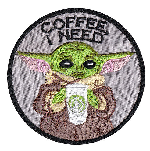 Child  Coffee I Need Baby  Parody Collectible Premium Hook Back Patch