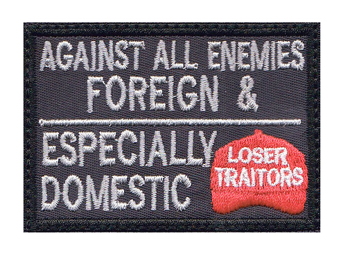 Against Domestic Traitors Red Hat Collectible Premium Glue Back To Sew On Patch