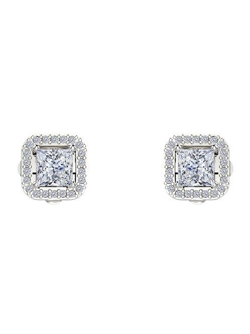 14K WHITE GOLD PRINCESS CUT DIAMOND STUD EARRINGS