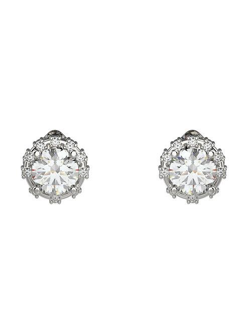14K WHITE GOLD ROUND BRILLIANT DIAMOND STUD EARRINGS