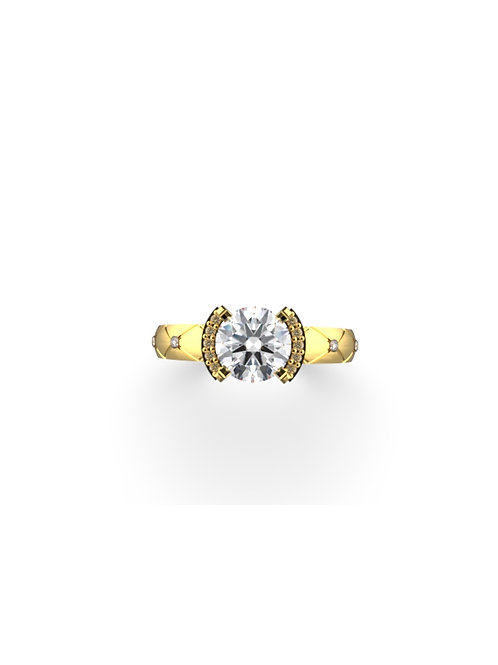 14K YELLOW GOLD ROUND BRILLIANT DIAMOND RING