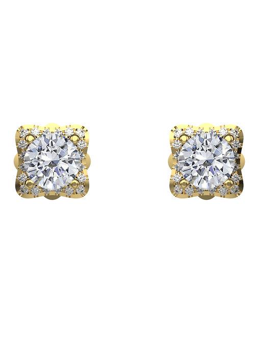 14K YELLOW GOLD ROUND BRILLIANT DIAMOND STUD EARRINGS