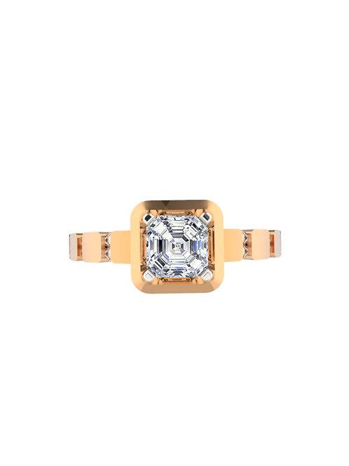 14K ROSE GOLD ASSCHER CUT DIAMOND RING