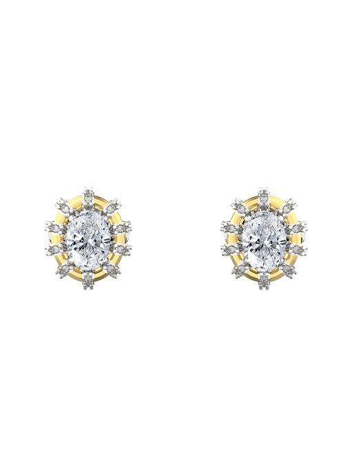 14K WHITE GOLD OVAL CUT DIAMOND STUD EARRINGS