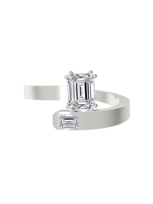 14K WHITE GOLD EMERALD CUT DIAMOND RING