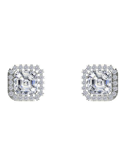 14K WHITE GOLD ASSCHER CUT DIAMOND STUD EARRINGS