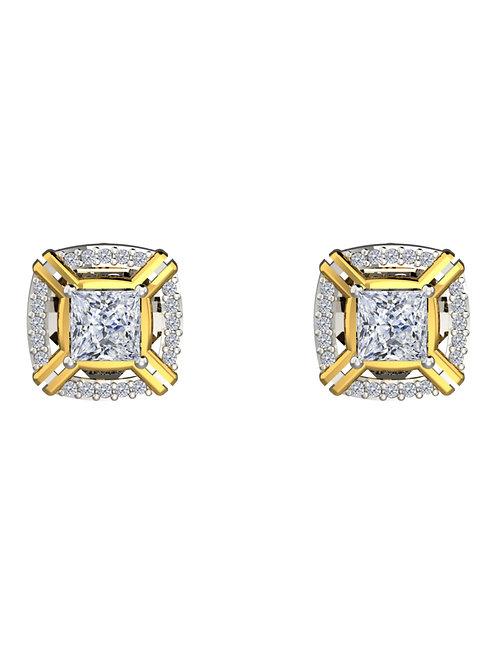 14K WHITE & YELLOW GOLD PRINCESS CUT DIAMOND STUD EARRINGS