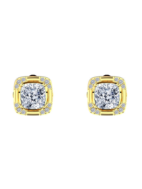 14K YELLOW GOLD CUSHION CUT DIAMOND STUD EARRINGS