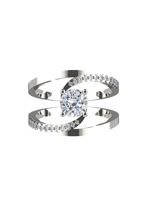 14K WHITE GOLD ROUND BRILLIANT DIAMOND RING