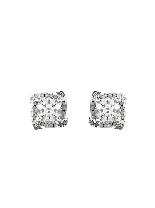 14K WHITE GOLD ROUND BRILLIANT DIAMONDS STUD EARRINGS