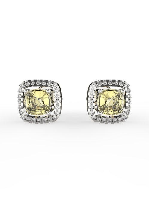 14K WHITE GOLD CUSHION BRILLIANT DIAMONDS STUD EARRINGS
