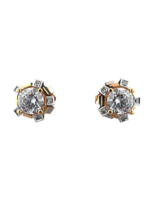 14K ROSE & WHITE GOLD ROUND BRILLIANT DIAMOND STUD EARRINGS