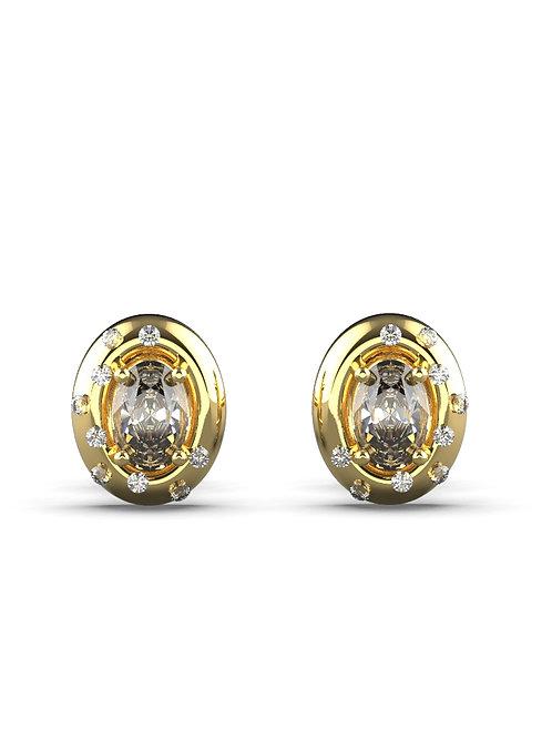 14K YELLOW GOLD OVAL CUT DIAMOND STUD EARRINGS