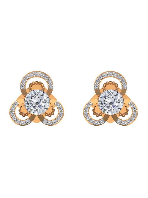 14K ROSE GOLD ROUND BRILLIANT DIAMOND STUD EARRINGS