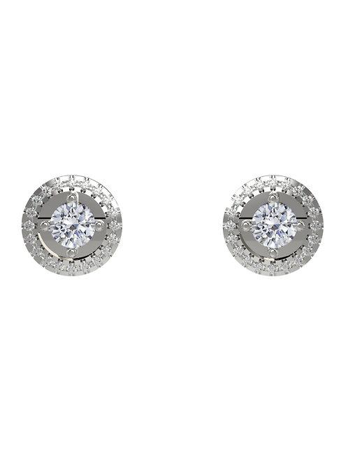 14K WHITE GOLD ROUND BRILLIANT DIAMONDS INFINITY STUD EARRINGS