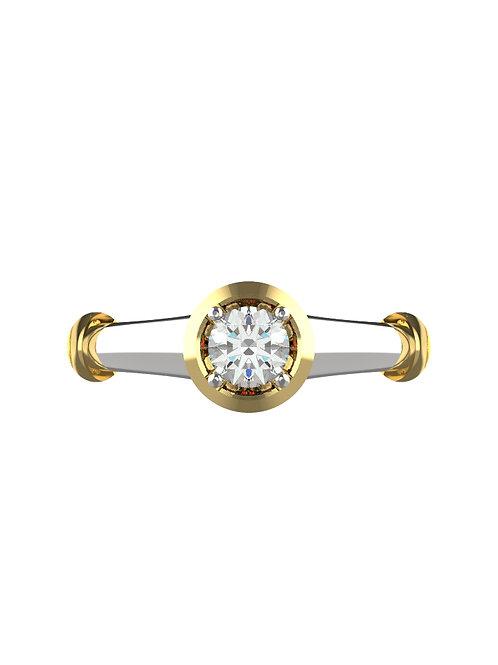 14K WHITE & YELLOW GOLD ROUND BRILLIANT DIAMOND RING