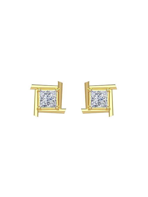 14K YELLOW GOLD ROUND PRINCESS CUT DIAMOND STUD EARRINGS