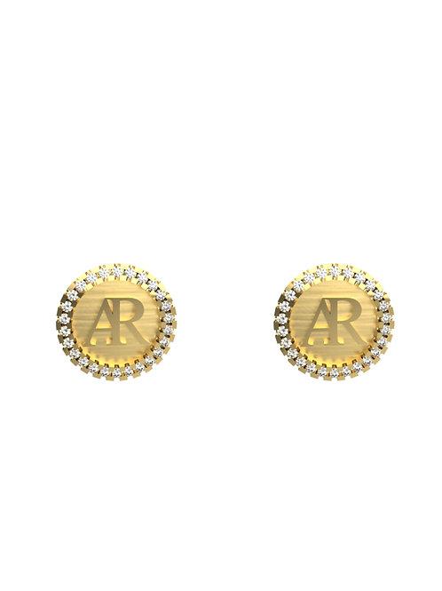 14K YELLOW GOLD AR DIAMOND STUD EARRINGS