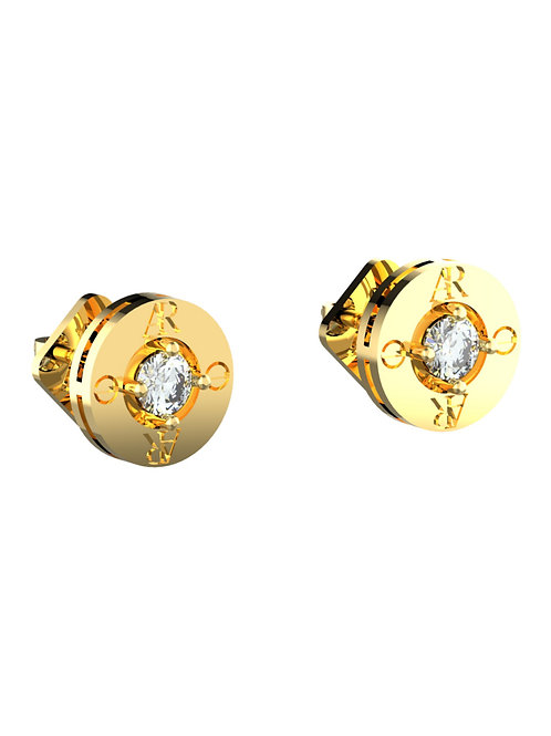 14K YELLOW GOLD AR SOLITAIRE EARRINGS