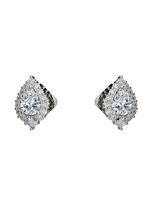 14K WHITE GOLD PEAR BRILLIANT DIAMOND STUD EARRINGS