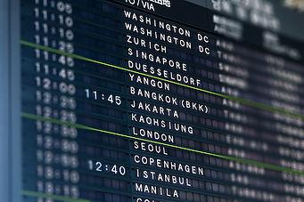 Tilt-shift lens effect on airport flight