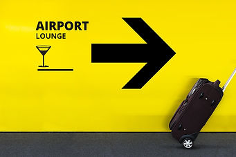 Airport Sign With Lounge Icon and Arrow
