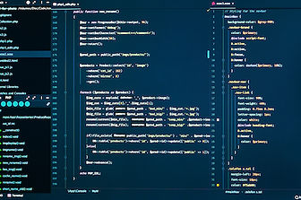 Css and php code on dark blue background