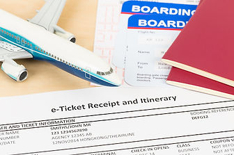 E-ticket with plane model red passport a